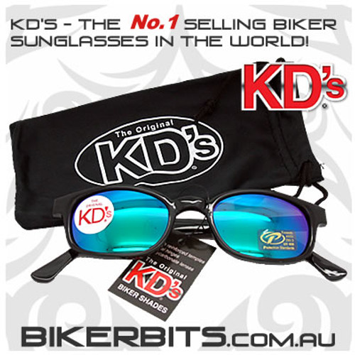 Motorcycle Sunglasses - KD's Black - Coloured Mirror