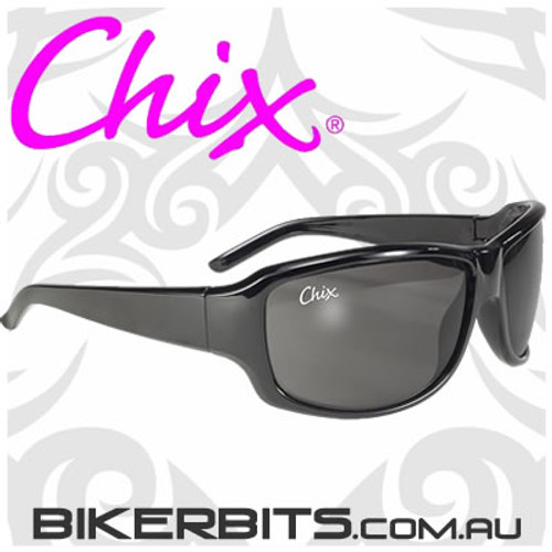 Motorcycle Sunglasses - Chix Panther - Smoke/Light Silver Mirror