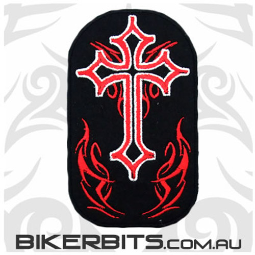 Patch - Cross with Red Flames