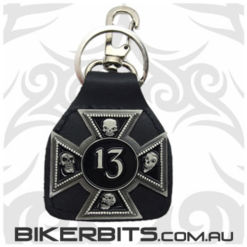 Keyring - 13 - Iron Cross Leather Key Fob