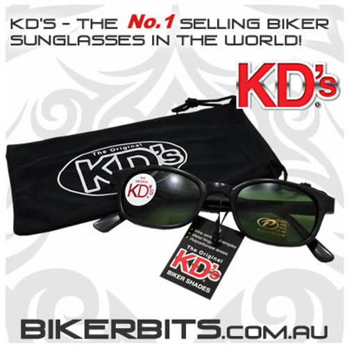 Motorcycle Sunglasses - KD's Black - Dark Green