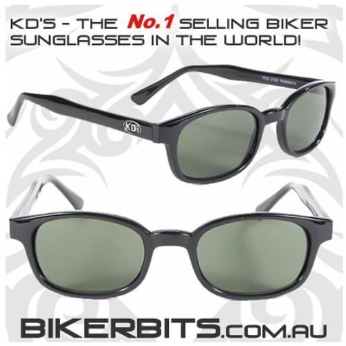 Motorcycle Sunglasses - KD's Black - Dark Green