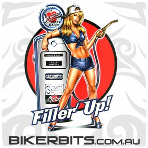 Biker Decal - Filler' Up - Pin Up Girl