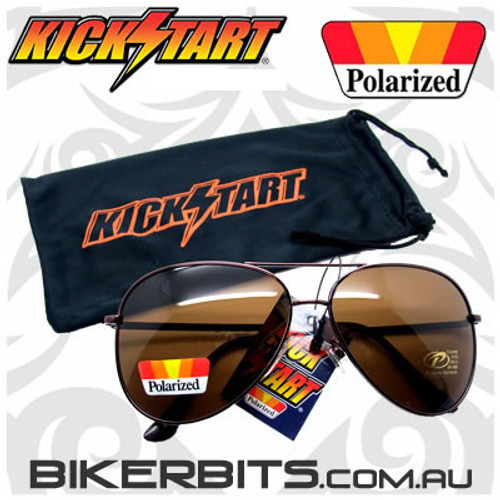 Motorcycle Sunglasses - Pilot - Polarized Brown/Copper