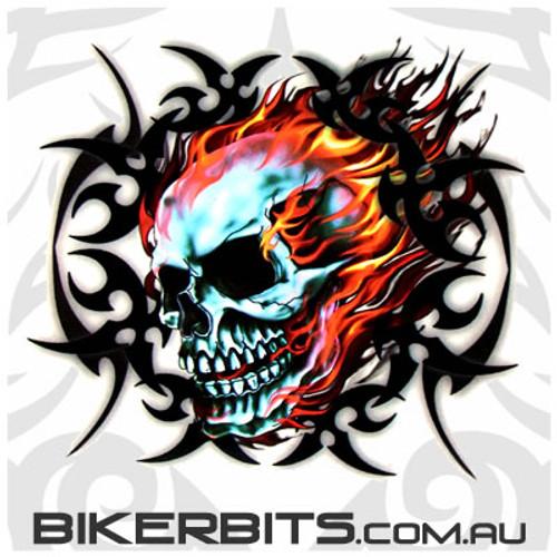 Biker Decal - Tribal Flame Skull