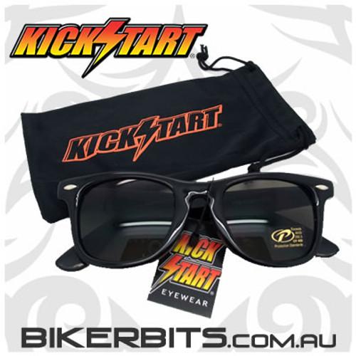 Motorcycle Sunglasses - Blues Brothers - Smoke Black