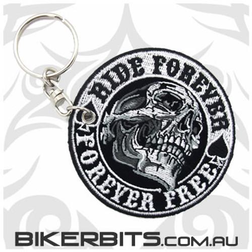 Keyring - Ride Forever Ride Free Skull