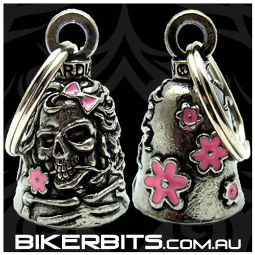 Guardian Bell - Lady Skull with Pink Flowers