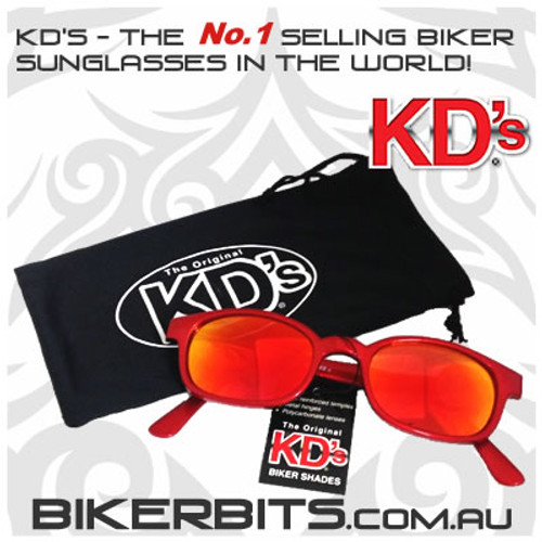 Motorcycle Sunglasses - KD's Fire - Red Frame/Red Mirror Lens