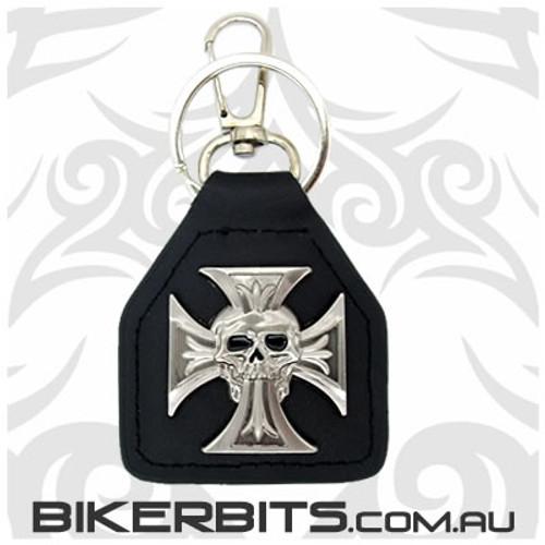 Keyring - Skull & Iron Cross Leather Key Fob