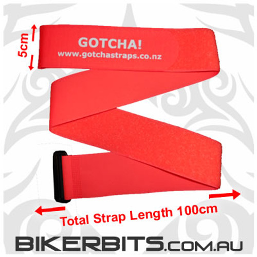 Gotcha Straps - 5cm wide x 1 metre long - 2 Pack - Lum Red