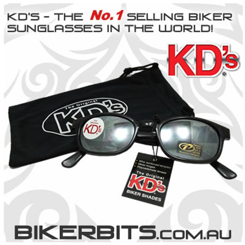 Motorcycle Sunglasses - KD's Black - Silver Mirror