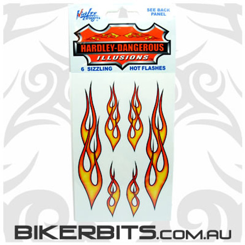 Biker Decal - Hot Rod Flames - Red