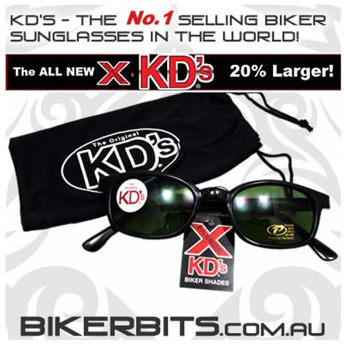 Motorcycle Sunglasses - X KD's Black - Dark Green
