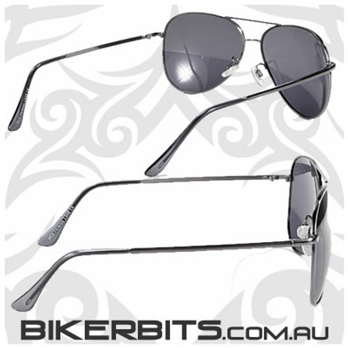Motorcycle Sunglasses - Pilot - Polarized Grey/Gunmetal