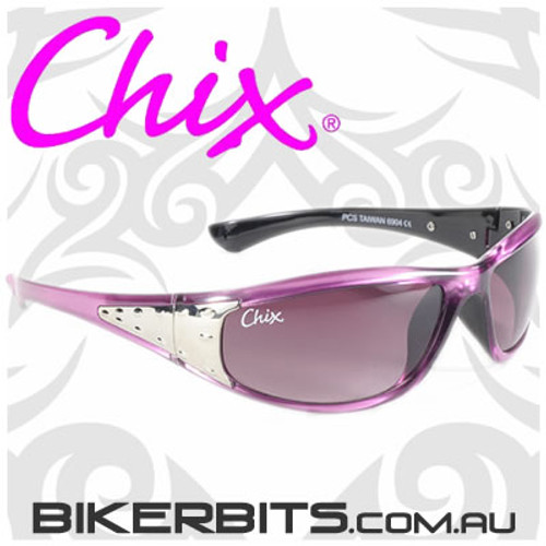 Motorcycle Sunglasses - Chix Sterling - Smoke Fade/Purple Frame