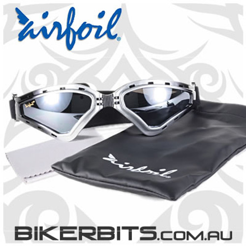 Motorcycle Sunglasses/Goggles - Airfoils - 9110 Silver Black Fad