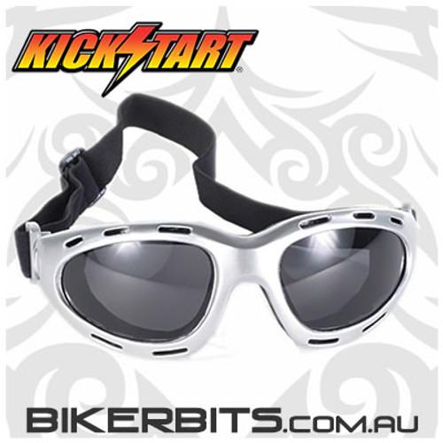 Motorcycle Goggles - Kickstart Dyno - Smoke/Silver