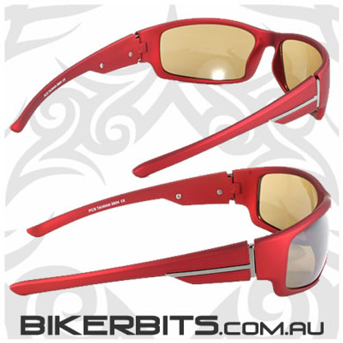 Motorcycle Sunglasses - Journey - Red - Silver Lens