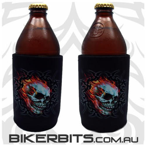 Stubby Holder - Flaming Skull