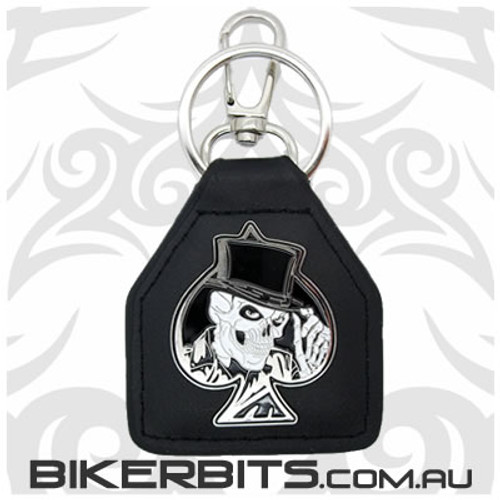 Keyring - Spade Skull with Top Hat Leather Key Fob