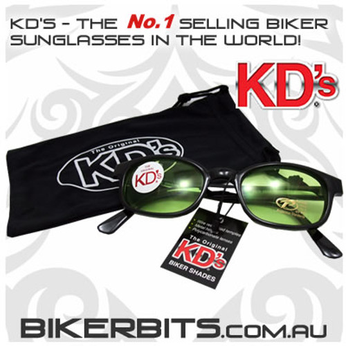 Motorcycle Sunglasses - KD's Black - Green