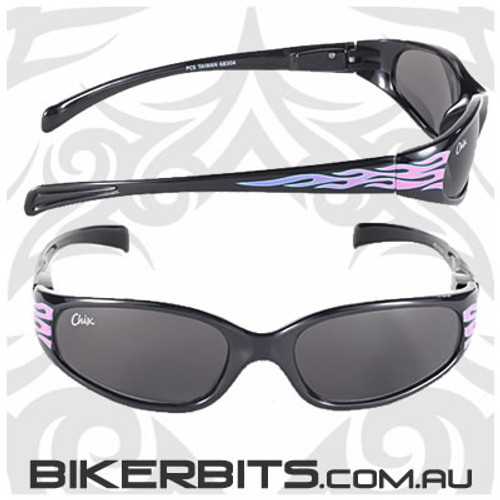 Motorcycle Sunglasses - Chix Heavenly Flame - Smoke/Black