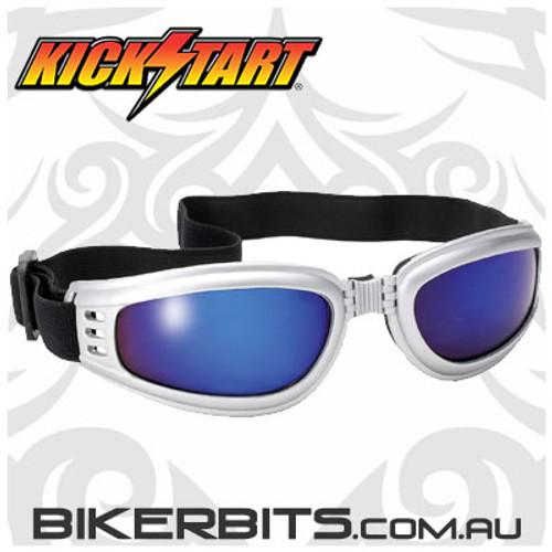 Motorcycle Goggles - Kickstart Nomad - Blue Mirror/Silver