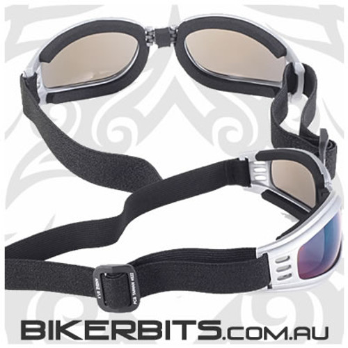 Motorcycle Goggles - Kickstart Nomad - Blue Mirror/Silver