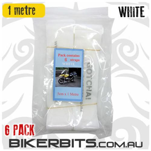 Gotcha Straps - 5cm wide x 1 metre long - 6 Pack - White