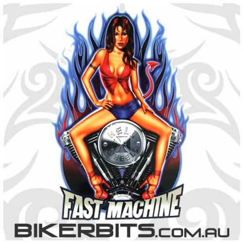 Biker Decal - Fast Machine - Pin Up Girl