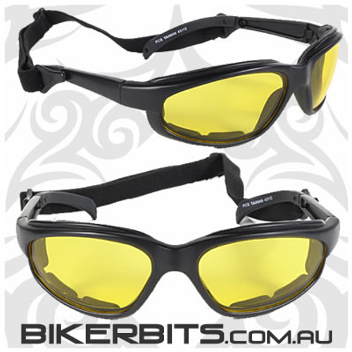 Motorcycle Sunglasses - Freedom Black/Yellow