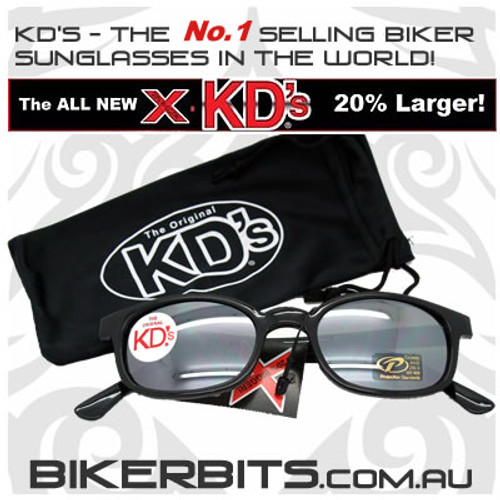 Motorcycle Sunglasses - X KD's Black - Silver Mirror