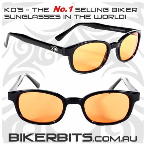 Motorcycle Sunglasses - KD's Black - Orange