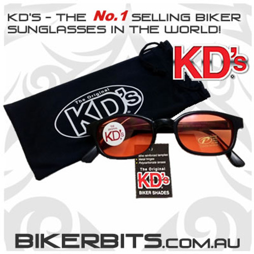 Motorcycle Sunglasses - KD's Black - Orange
