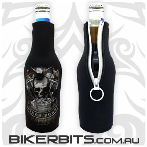Bottle Stubby Holder - Distressed Motor Skull