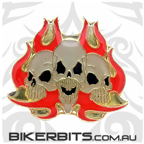 Lapel Pin - 3 Flaming Skulls