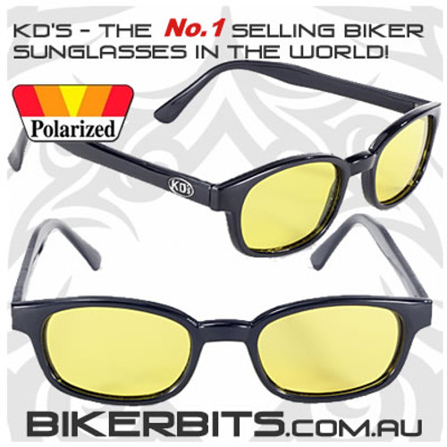 Motorcycle Sunglasses - KD's Black - Yellow Polarized