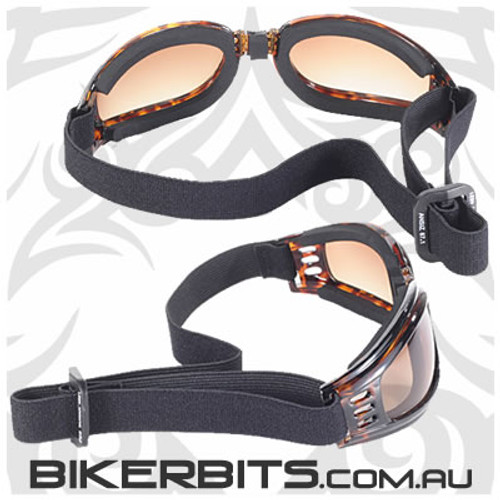Motorcycle Goggles - Kickstart Nomad - Brown Fade/Tortoise
