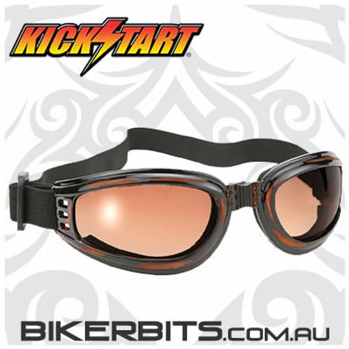Motorcycle Goggles - Kickstart Nomad - Brown Fade/Tortoise