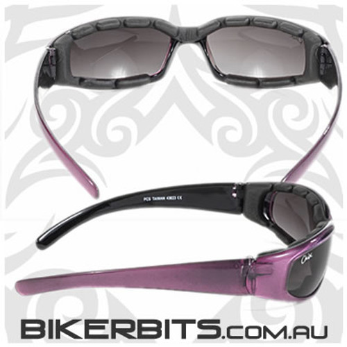 Motorcycle Sunglasses - Chix Rally - Grey Gradient/Purple