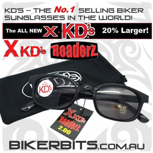 Motorcycle Sunglasses - X KD's Readerz - Smoke - 2.00
