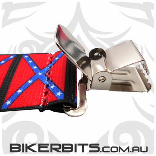 Biker Suspenders - Rebel Flag