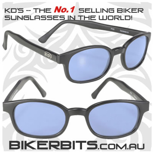 Motorcycle Sunglasses - KD's Matte Black - Blue