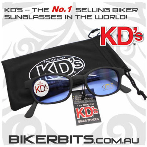 Motorcycle Sunglasses - KD's Matte Black - Light Blue