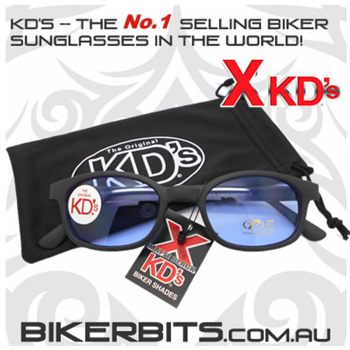 Motorcycle Sunglasses - X KD's Matte Black - Light Blue