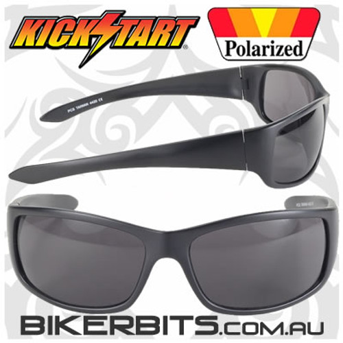 Motorcycle Sunglasses - Road Wrap - Smoke Polarized/Black