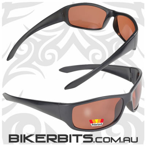 Motorcycle Sunglasses - Road Wrap - Amber Polarized/Black