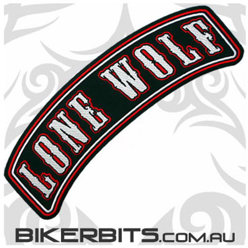 Patch - Biker Club Rocker - LONE WOLF - Red