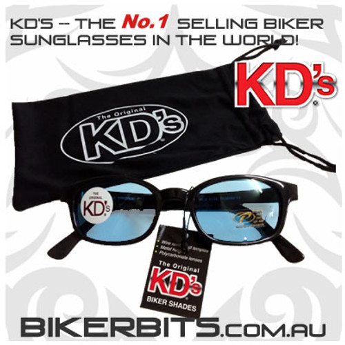 Motorcycle Sunglasses - KD's Black - Light Blue